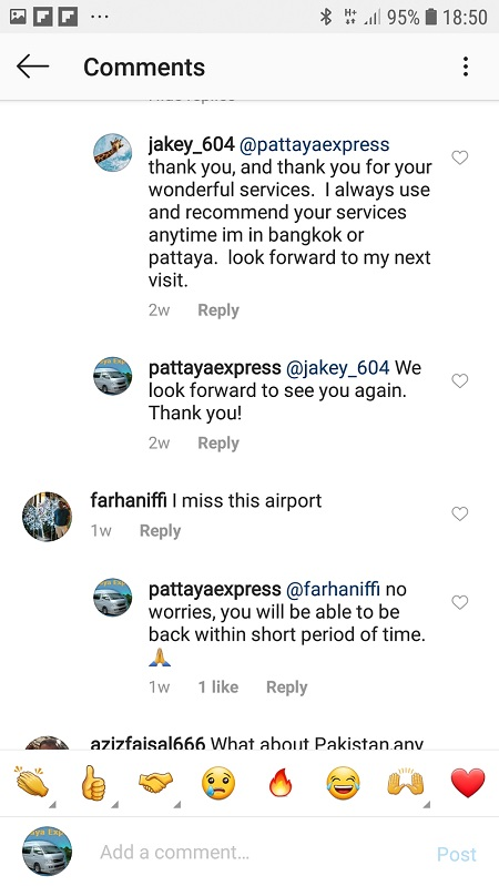 Taxi to Pattaya customer feedback Instagram