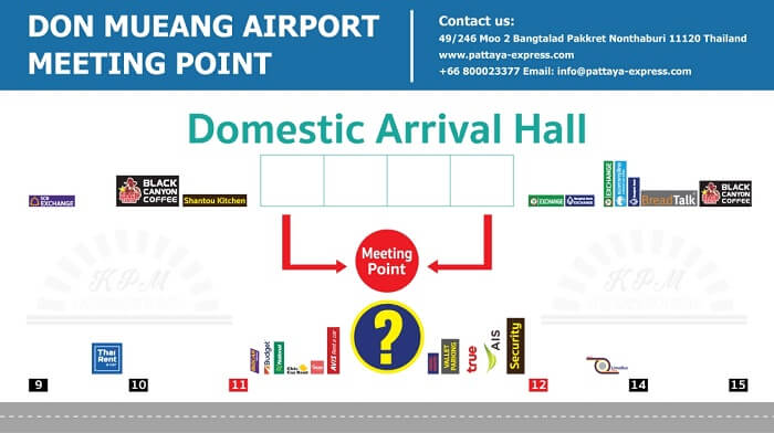 GATES 11 and GATES 12 is meeting point at Don Mueang airport for domestic flights