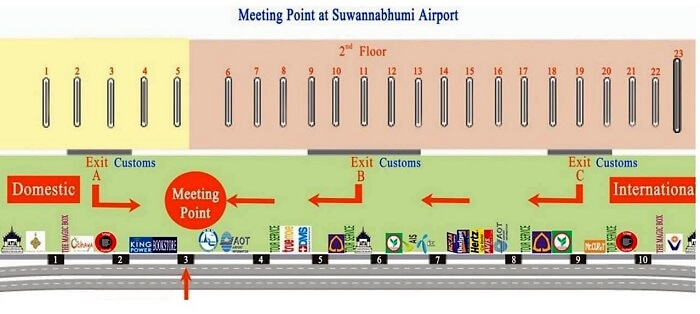 meeting point at EXIT 3 Suvarnabhumi